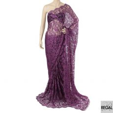 Black and violet purple two tone French saree lace fabric in floral design  - D:5529