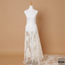 Off white nylon tulle fabric with same tone embroidery  having beads, sequins and stone work in floral design-D7135