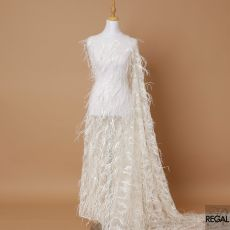 Off white nylon tule fabric with same tone embroidery having sequins and feathers in fancy design-D7142