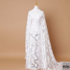 Off white nylon tulle fabric with same tone embroidery, sequins, pearls and beads in fancy design-D7145