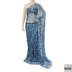 Azure blue and black two toned French lace saree with stone work in floral design  - D:5561