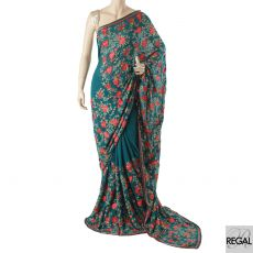 Petrol green synthetic chiffon saree with red, olive green, turquoise green, gold embroidery having multicolor bead work in floral design