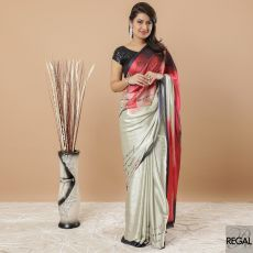 Light tea green, scarlet red, black and stone grey synthetic satin saree in Abstract design having stone work-D6226