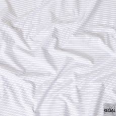 White Swiss 100% cotton shirting fabric with blue and white stripe design-D7175