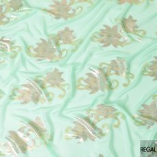 Paris green silk chiffon fabric with rose pink and gold metallic lurex in floral design-D7298