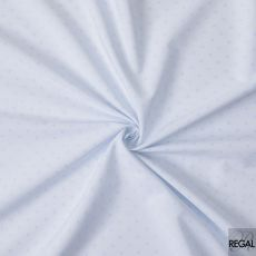 White Italian 100% cotton shirting fabric with baby blue jacquard in self design