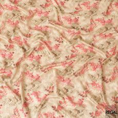 Beige viscose fabric with same tone and brick pink print in floral design having stone work-D6716