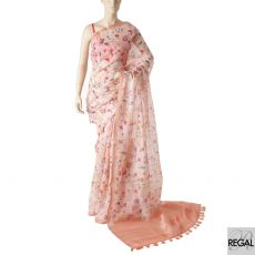 Carnation pink blended synthetic chanderi saree with olive green, ruby pink and brown print in floral design having golden checks-D5911