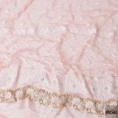 Salmon nylon tulle fabric with white and gold embroidery having gold sequins in fancy design-D6905