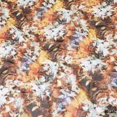 White Swiss 100% cotton voile fabric with dark mocha brown, mustard, blue and hot pink print in floral design-D7208