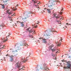 White Swiss 100% cotton voile fabric with baby pink, black, dark orange and off white print in floral design-D7214