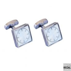 Men's silver metal cufflinks with silver circle design