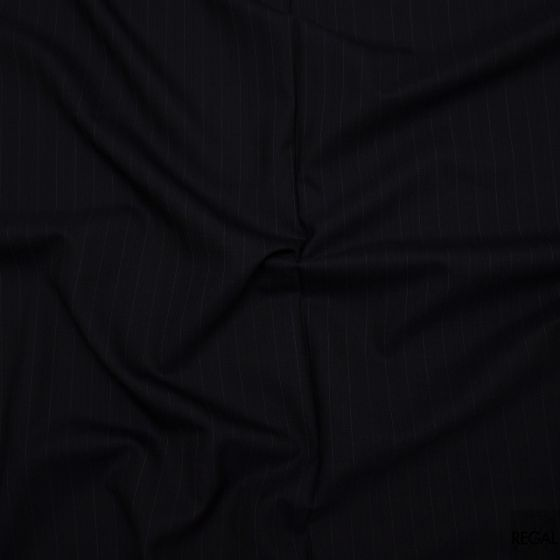 Black English wool blended suiting with light purple stripe fabric