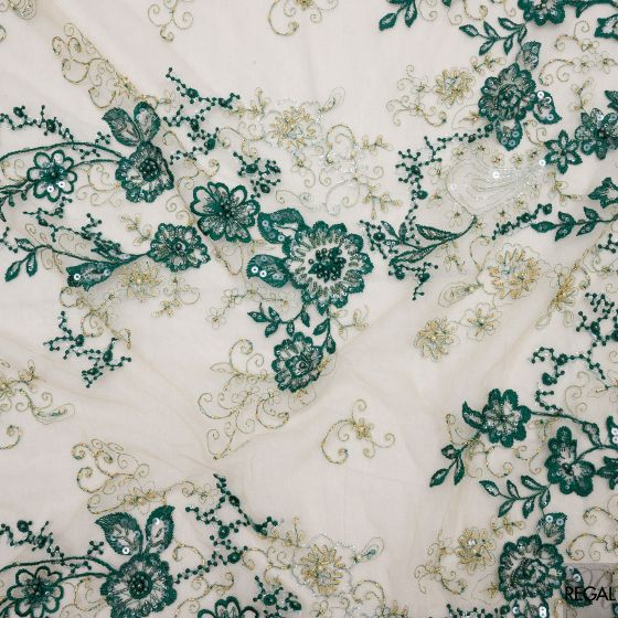 Beige tulle fabric with bottle green embroidery, sequins and pearls in Floral design