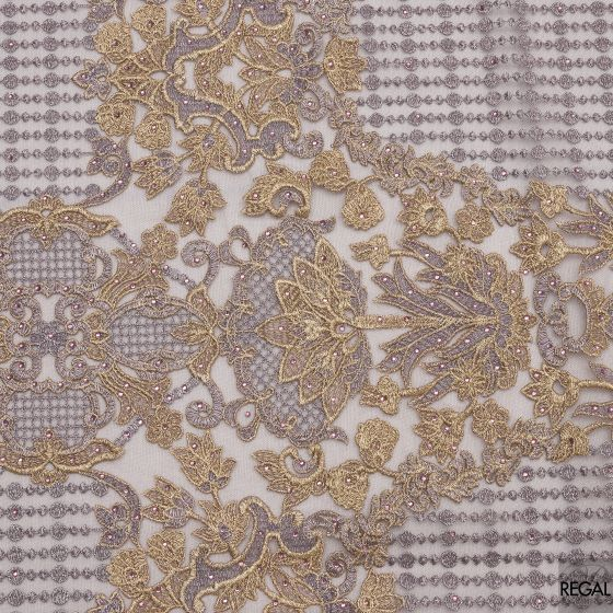 Grey tulle fabric with embroidery in gold, grey  & stones in floral design.