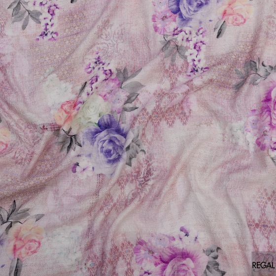 Light pink brocade fabric with grey, pink, green printed floral design