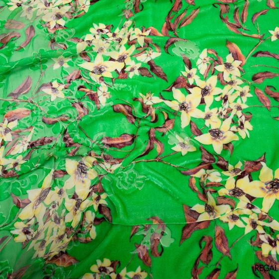 Light green Burnout printed velvet with yellow, brown & peach floral design