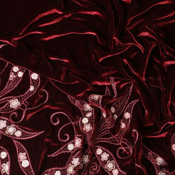 Maroon Italian velvet fabric with peach, maroon and gold embroidery in border design with stone work