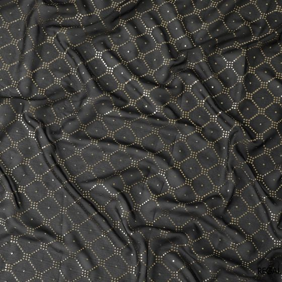 Bottle green synthetic polyester fabric having golden printed foil in geometric design