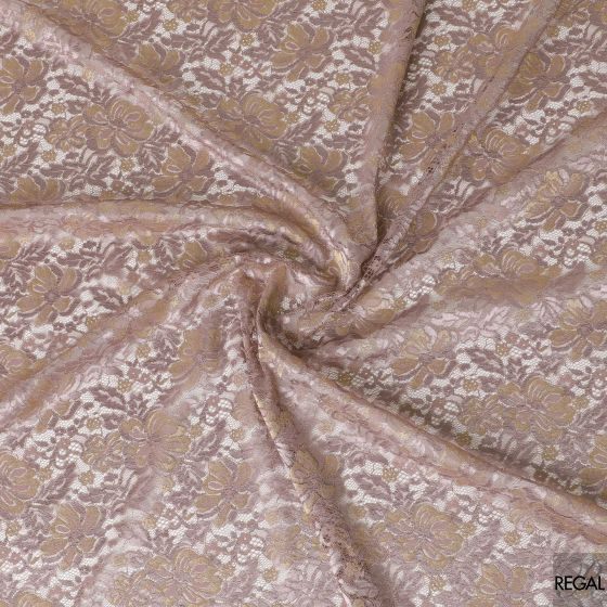Periwinkle purple lace fabric with gold and purple embroidery in floral design