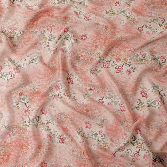Salmon pink blended georgette fabric with beige, brick pink and olive green print in floral design
