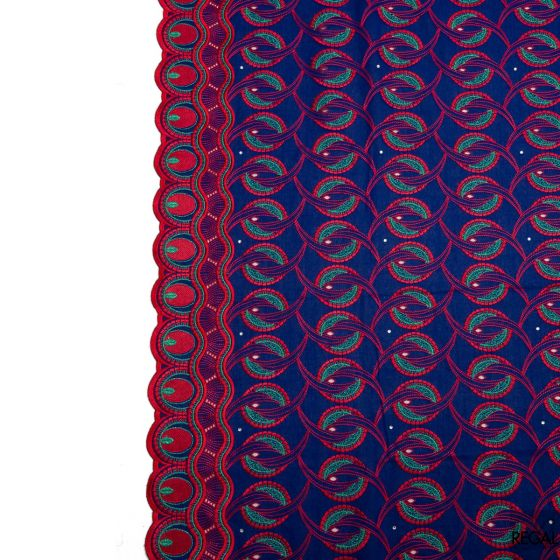 Midnight blue Swiss voile fabric with red, metallic green abstract embroidery and stones