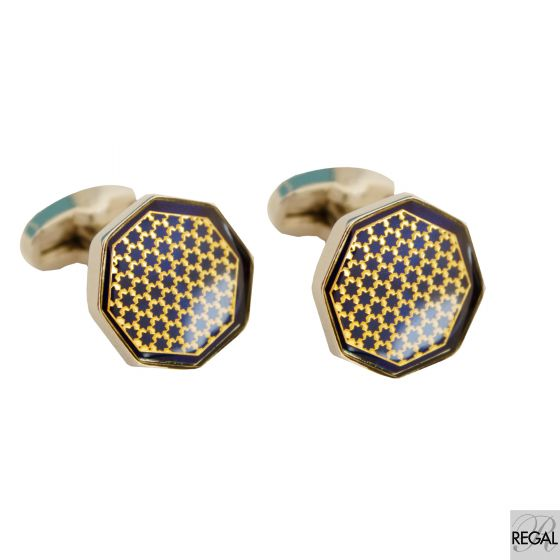 Men's silver metal cufflinks with midnight  blue surface and gold design