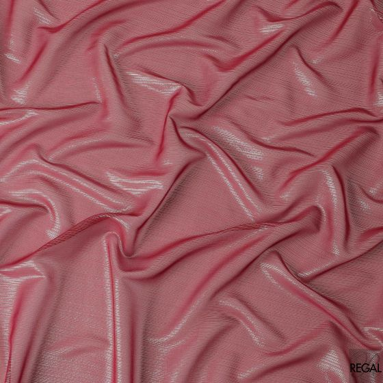 Sangria red silk chiffon fabric with gold and silver metallic lurex in fancy design