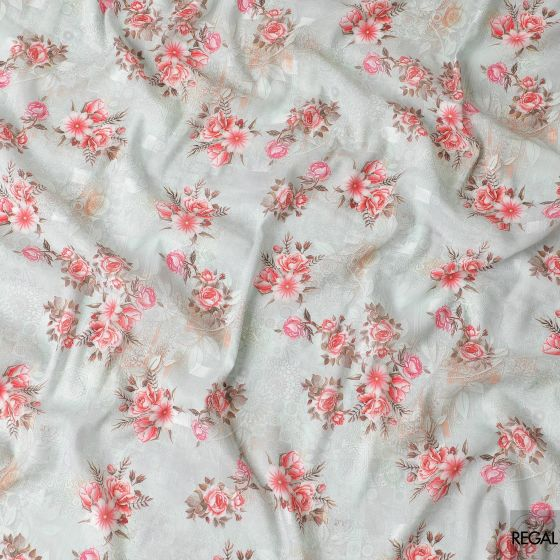 Light pasta green synthetic crepe fabric with red, hot pink and olive green print in floral design having light pasta green clip cord