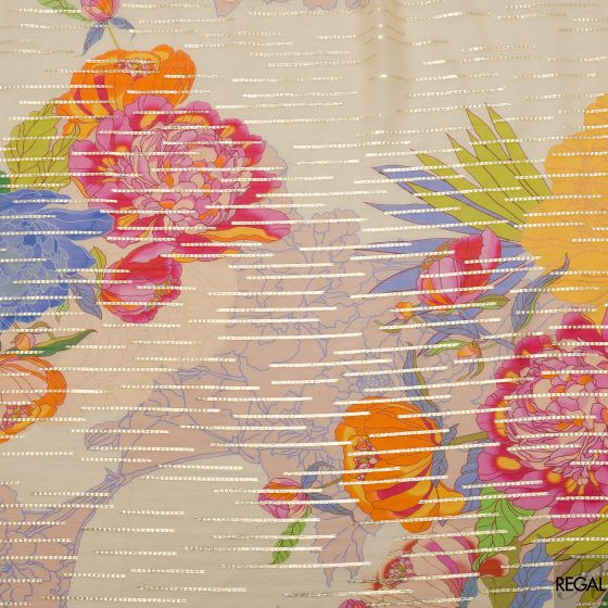 Beige French chiffon fabric with multicolor flowers & gold metallic stripes