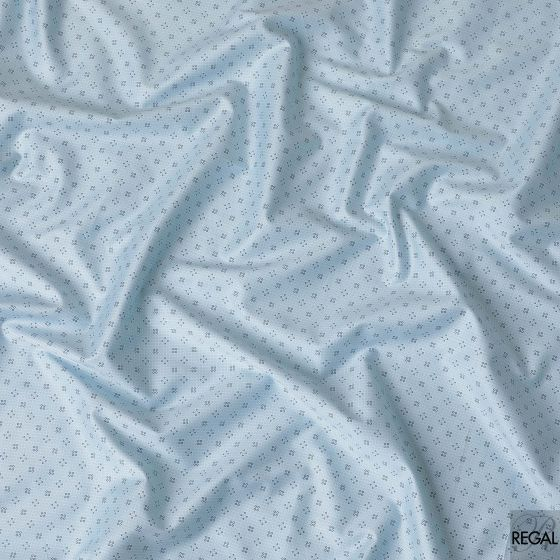 Baby blue cotton shirting fabric with Blue and grey prints in geometric design