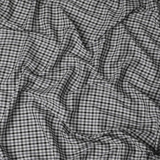 White blended shirting with printed black and grey checks design