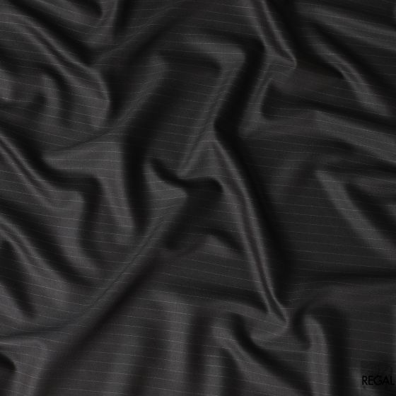 Wood brown Italian blended wool suiting fabric with white stripe design